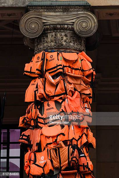 An art installation by Chinese artist Ai Weiwei that consists of life vests worn by refugees bound to the columns of the concert house at...