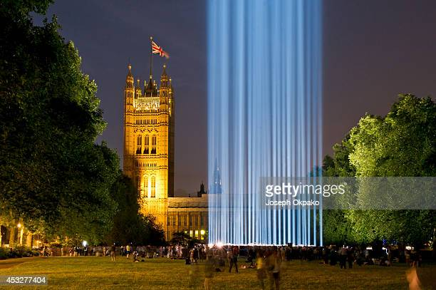An art installation entitled 'Spectra' by Ryoji Ikeda lights the night as part of a series of 1418 NOW events to commemorate the centenary of...