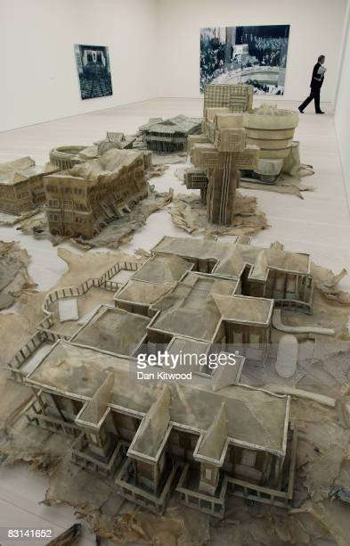 An art installation made from edible dog chews called 'Love It Bite It' by artist Liu Wei sits in the Saatchi Gallery on October 6 2008 in London...
