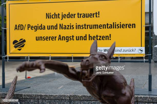 An art installation of brass wolves, some giving the Nazi salute, on September 13, 2018 in Chemnitz, Germany. The installation, by artist Rainer...