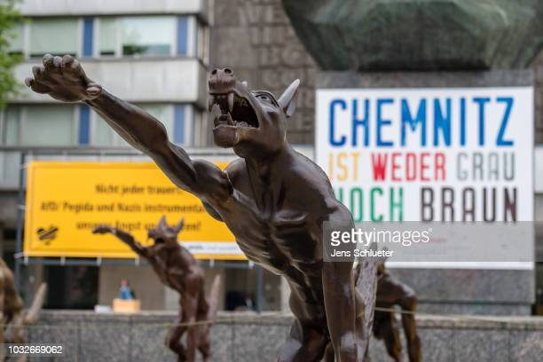 An art installation of brass wolves some giving the Nazi salute on September 13 2018 in Chemnitz Germany The installation by artist Rainer Opolka is...