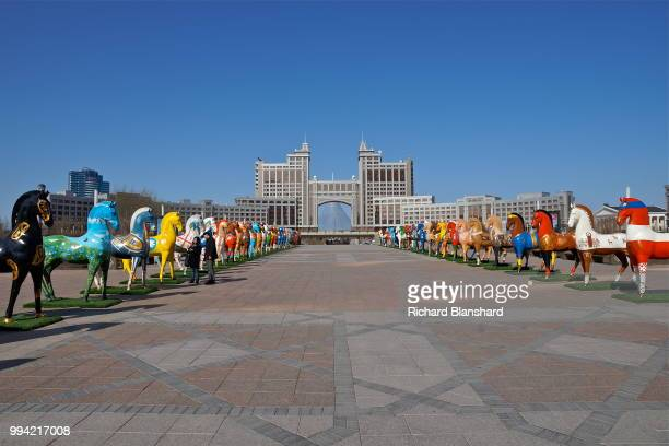 An art installation of horse sculptures in front of the headquarters of KazMunayGas in Astana capital city of Kazakhstan 2016
