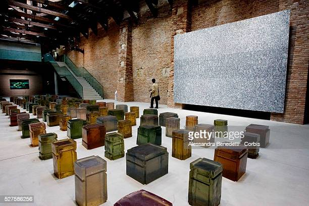 An art installation on display at the inauguration of Francois Pinault's Punta della Dogana contemporary art museum in Venice, which opens with the...