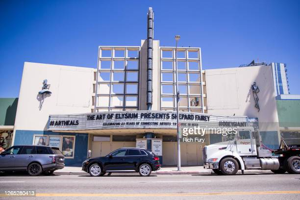 An art installation presented by The Art of Elysium featuring work by Shepard Fairey is displayed at the Hollywood Palladium on August 11 2020 in Los...