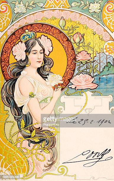 An art nouveau postcard illustration featuring a longhaired young lady wearing a crown in an ornate and exotic setting surrounded by water lilies...