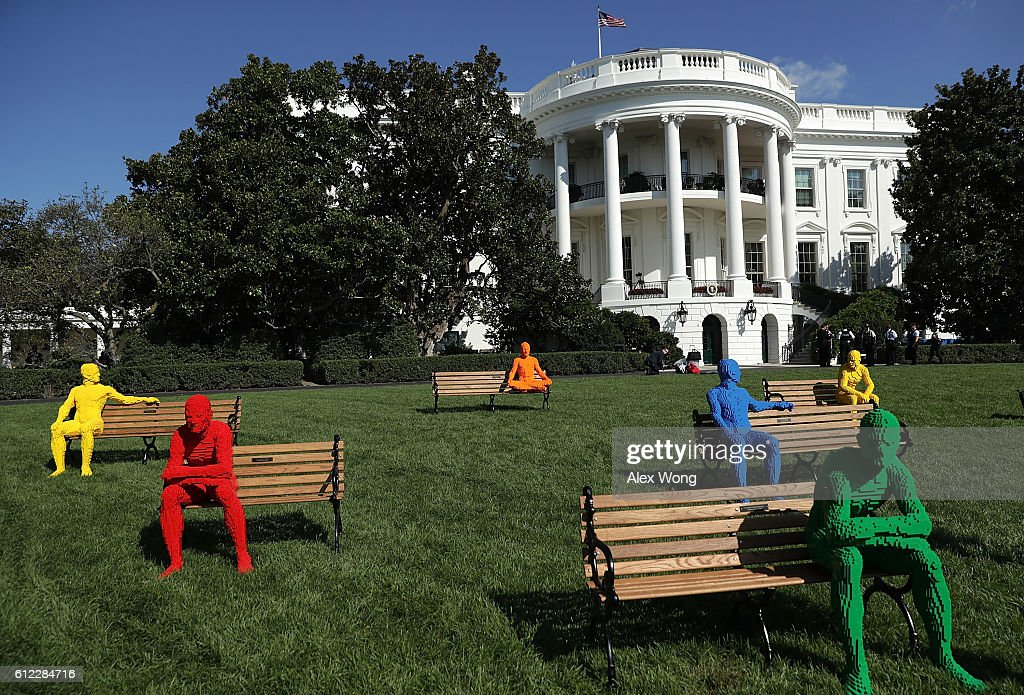 An art piece created by artist Nathan Sawaya from his The Park People series is seen during the South by South Lawn, a White House festival of ideas, art, and action, October 3, 2016 at the South Lawn of the White House in Washington, DC. The White House hosts the event to call on Americans 'to discover their own way to make a positive difference in our country.'