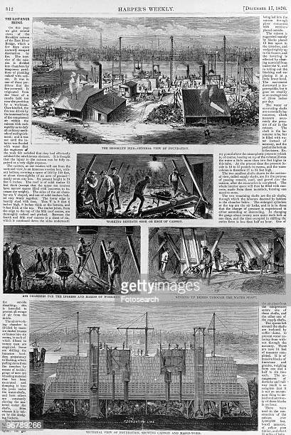An Article from Harper's Weekly about the Construction of Brooklyn Bridge New York City December 17th 1870