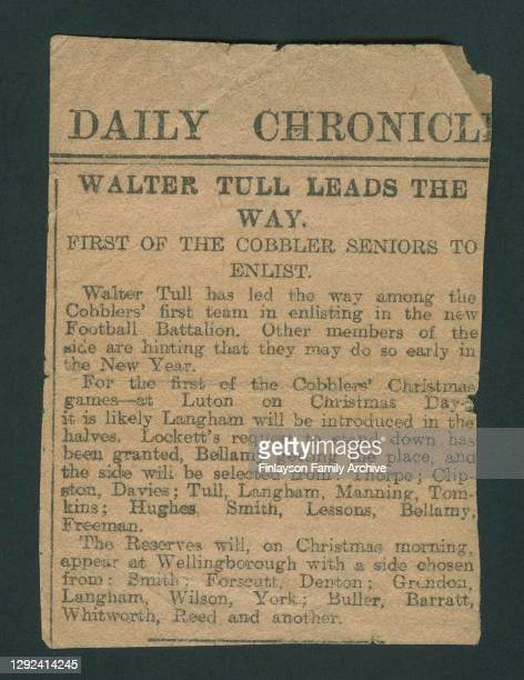 An article from the Daily Chronicle newspaper describing footballer Walter Tull as the first of the first team Northampton Town players to enlist in...
