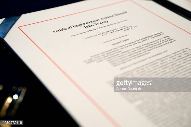 An article of impeachment for incitement of insurrection against President Donald Trump sits on a table at the U.S. Capitol on January 13, 2021 in...