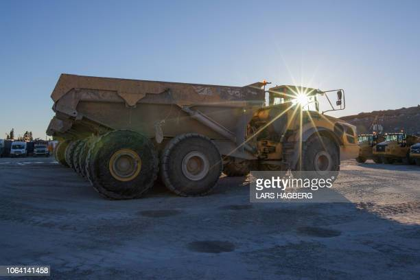 An articulated dump truck is seen at HydroQuebec's construction of the Romaine 4 hydroelectric dam in the CôteNord Administrative Region of Quebec...
