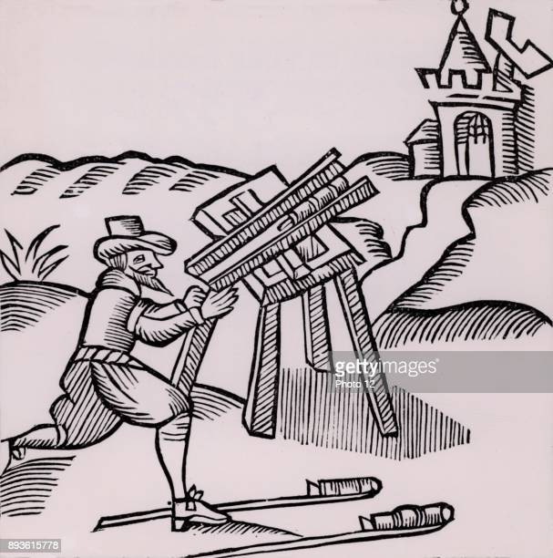 An Artificer or Pyrotechnist firing a rocket Woodcut from 'Recreations mathematiques' by Jean Leurechon