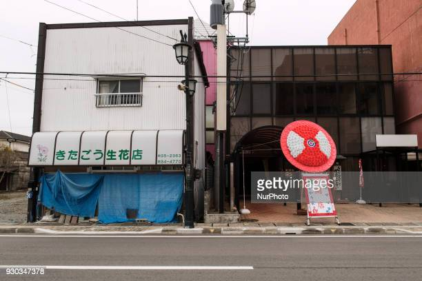 An artificial flower for celebration of the opening of a hostess bar lines the street with an abandoned broken flower shop at Namie town in Fukushima...