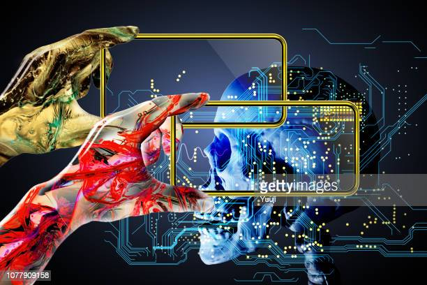 an artificial intelligence robot operates a smartphone or a tablet terminal and diagnoses the computer. scanning the human body and do medical care and health care. - big data health stock pictures, royalty-free photos & images