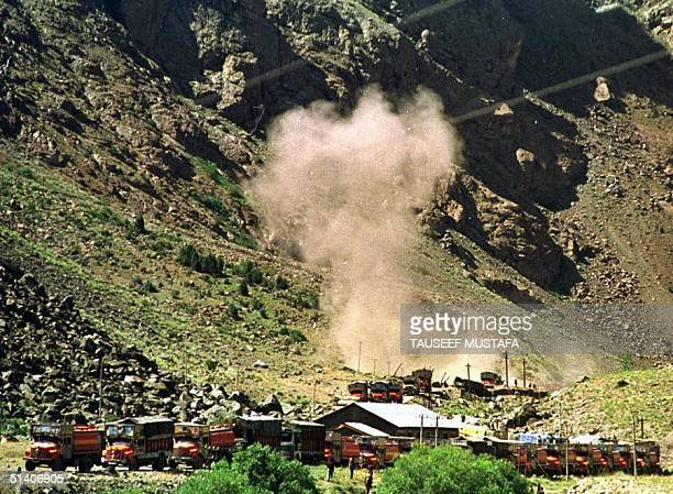 An artillery shell fired by Pakistani troops explodes on an Indian position in Kharbu part of Indian Kashmir 06 July 1999 India and Pakistan...