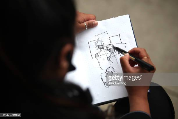 An artist draws the protests during a Black Lives Matter protest on June 06, 2020 in London, United Kingdom. The death of an African-American man,...