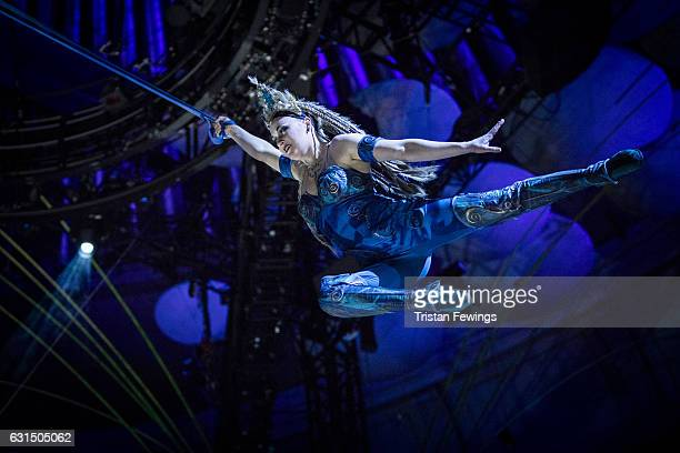 An artist from Cirque Du Soleil performs during a dress rehearsal for Cirque du Soleil's Amaluna at Royal Albert Hall on January 11 2017 in London...