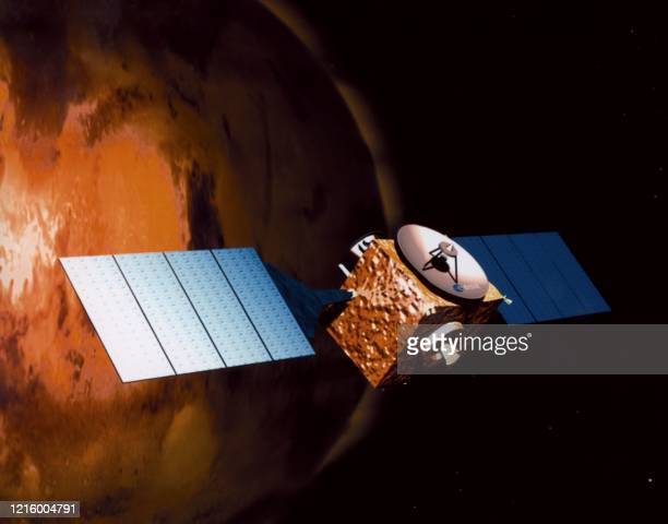 An artist impression released 30 March 1999 by the European Space Agency showing orbiter of Mars Express that will be the first flexible mission in...