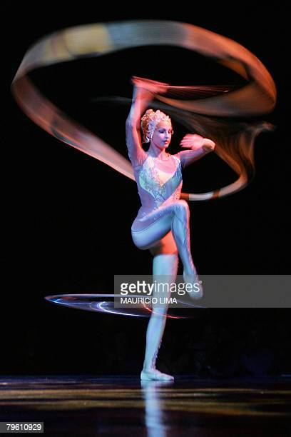 An artist of 'Cirque du Soleil' performs during a dress rehearsal of 'Alegria' show in Sao Paulo Brazil 06 February 2008 The international cast of 55...
