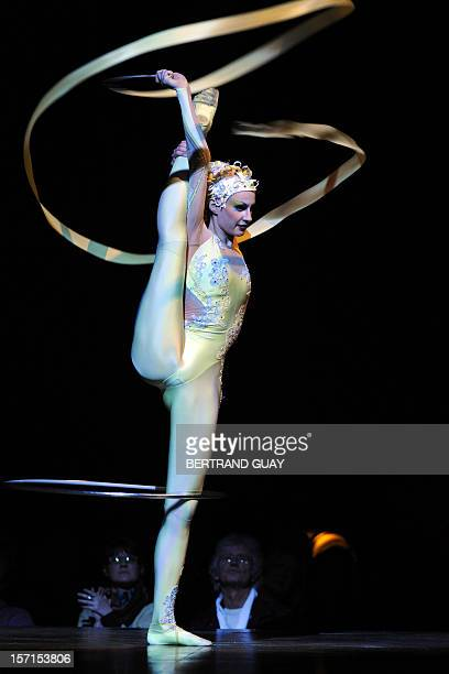 An artist of the 'Cirque du Soleil' performs the Alegria circus show on November 28 2012 in Paris AFP PHOTO BERTRAND GUAY