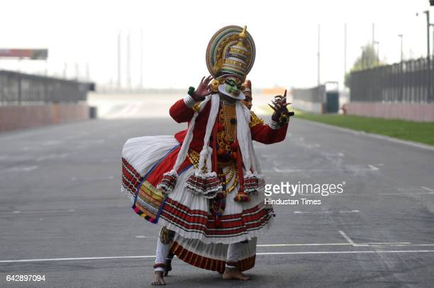 An artist performing Kathakali dance at F1 Track during the 7th edition of 21 Gun Salute International Vintage Car Rally on February 19 in Greater...