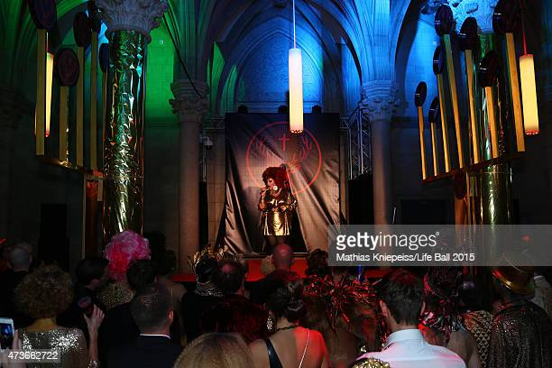 An artist performs at the Life Ball 2015 after show party at City Hall on May 16 2015 in Vienna Austria