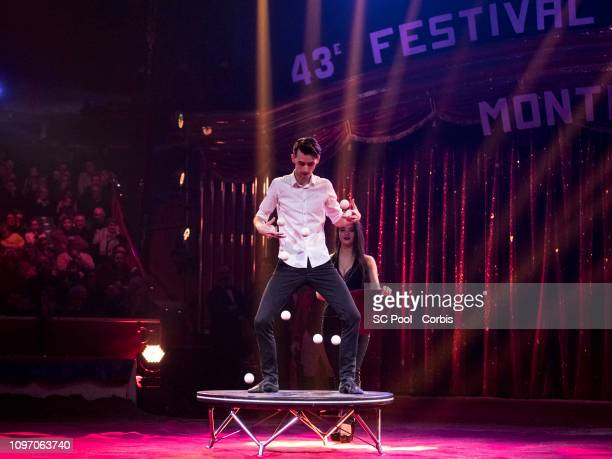 An artist performs during the 43rd International Circus Festival of MonteCarlo on January 20 2019 in Monaco Monaco
