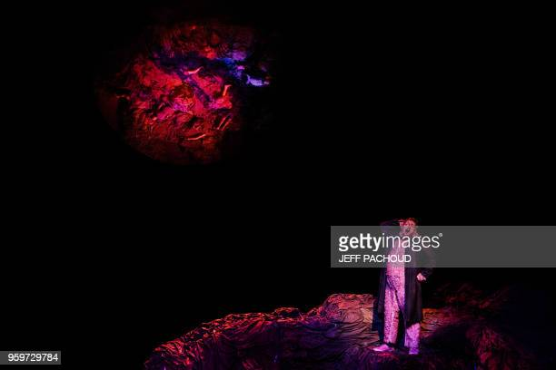 An artist performs on stage on May 17 2018 in Lyon opera during the dress rehearsal of Russian composer Alexander Raskatov opera 'GerMANIA'...