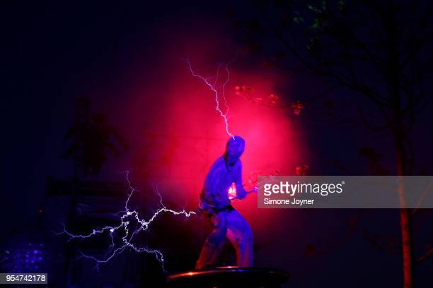 An artist performs with lightning during the Arcadia 10th Anniversary Metamorphosis show rehearsals at Queen Elizabeth Park on May 4 2018 in London...