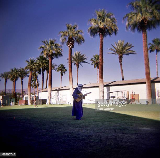 An artist prepares backstage at the Coachella Valley Music and Arts Festival at the Empire Polo Fields on April 19 2009 in Indio California The...