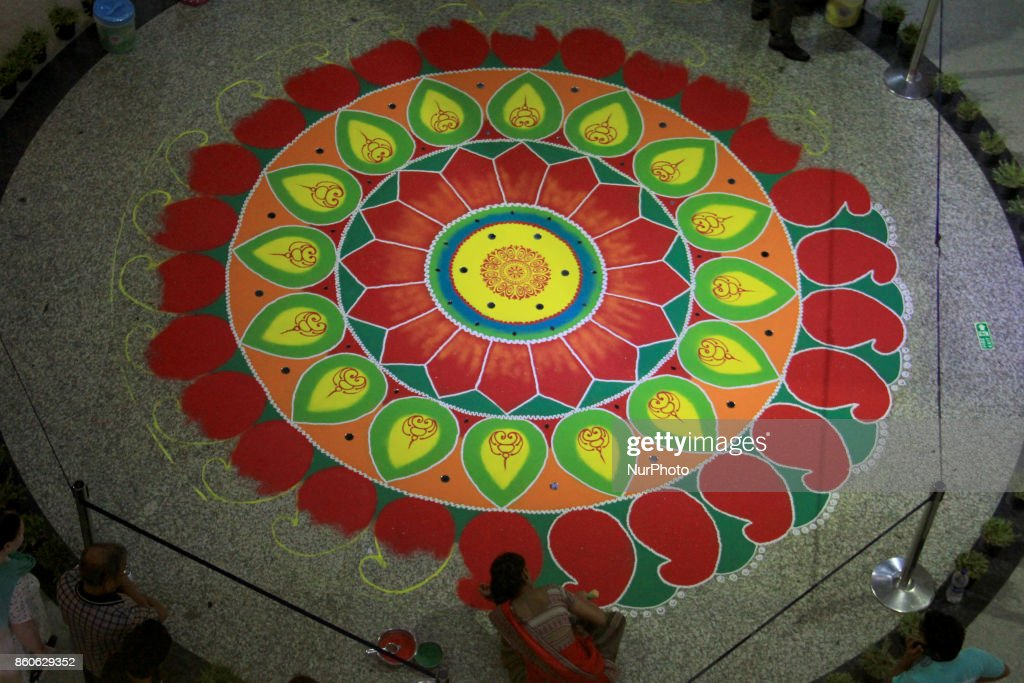 Rangoli for Diwali in Delhi : News Photo
