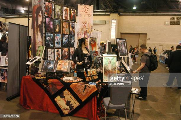 An Artist prepares to sit down and paint with Water Colors for Wizard World fans in Philadelphia PA on June 4 2017