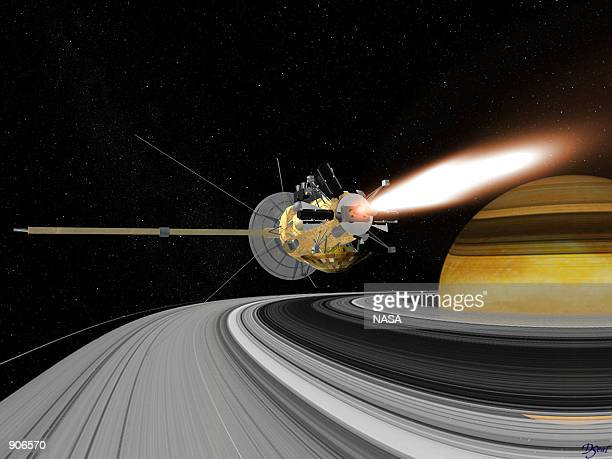 An artist rendering of the Cassini spacecraft entering orbit around Saturn The twostory $34 billion spacecraft carrying a load of deadly plutonium...
