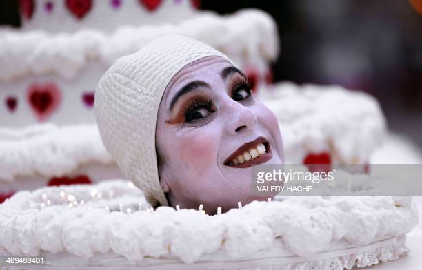 An artist takes part in the festivities of the Nice Carnival parade on February 15 in Nice southeastern France The carnival held from February 14 to...