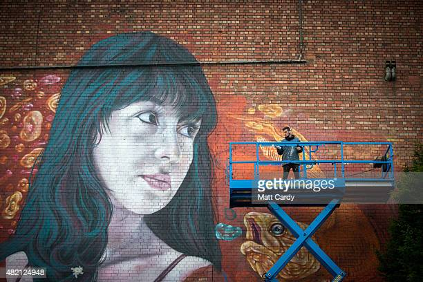 An artist works on artist Martin Ron's mural on the side of the Tobacco Factory as part of the ongoing Upfest festival being held in Bedminster on...