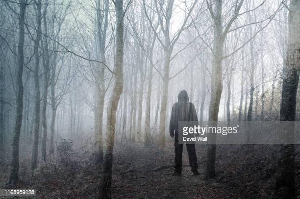 an artistic, double exposure of a hooded man standing in a spooky forest on a foggy winters day. with a grunge, blurred edit. - paranormal stock pictures, royalty-free photos & images