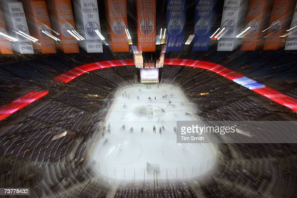 An artistic impression of the Rexall Place taken before the game between the Edmonton Oilers and the Minnesota Wild at Rexall Place on March 15 in...