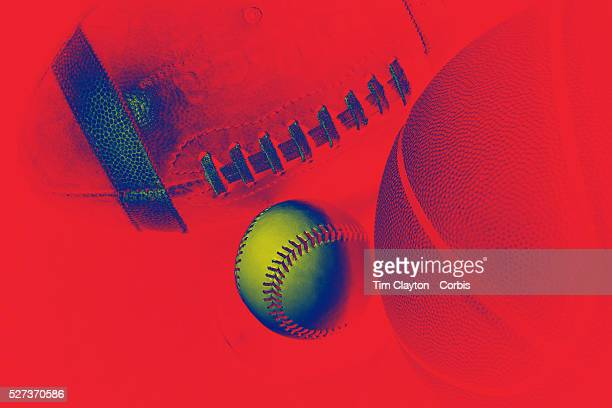 An Artistic studio shot of a Baseball a Basketball and an American Football 20th October 2012 Photo Tim Clayton