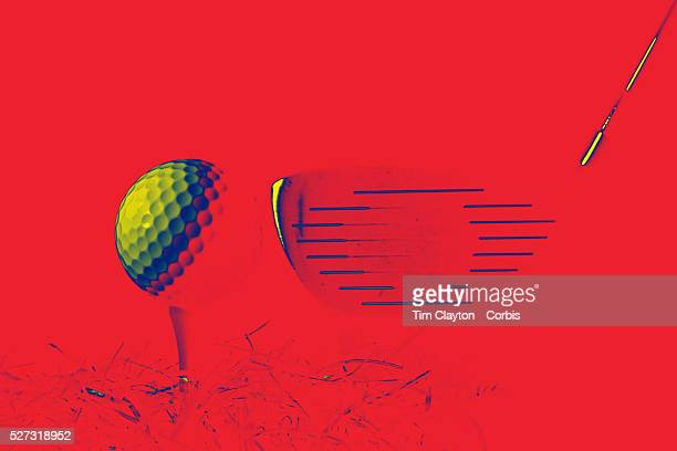 An artistic studio shot of a Golf club and a Golf Ball on a tee with a photoshop colour harmonies effect 26th October 2012 Photo Tim Clayton