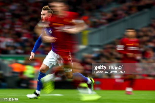 An artistic view of James Maddison of Leicester City during the Premier League match between Liverpool FC and Leicester City at Anfield on October 5...