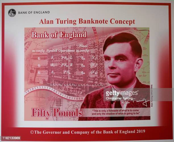 An artists illustration of the Alan Turing 50 GBP bank note unveiled by The Governor of the Bank of England Mark Carney at the Manchester Science and...
