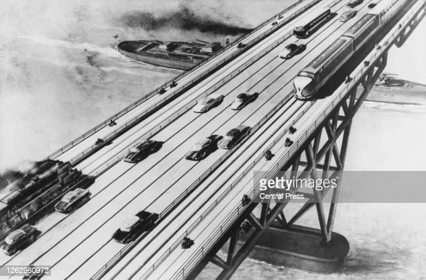 An artist's impression of a bridge across the English Channel between England and France, 5th April 1960. The proposed bridge, a joint British,...