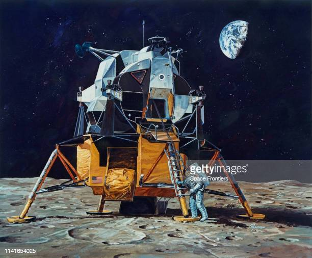 An artist's impression of Commander Neil Armstrong walking on the surface of the Moon during NASA's Apollo 11 lunar landing mission July 1969 He is...
