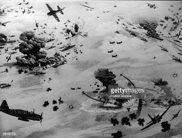 An artist's impression of the Battle of Midway during World War II June 1942
