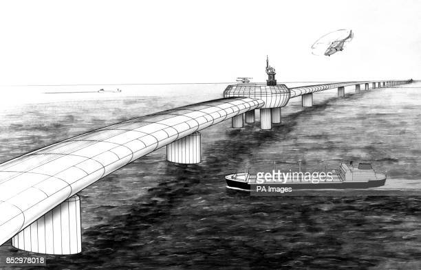 An artist's impression of the Eurolink bridge a plan by four London businessmen for a road/rail bridge across the Channel one of the contender's for...