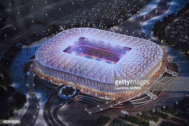 An artists impression of the new stadium in RostovonDon during a media tour of Russia 2018 FIFA World Cup venues on July 14 2015 in RostovonDon Russia