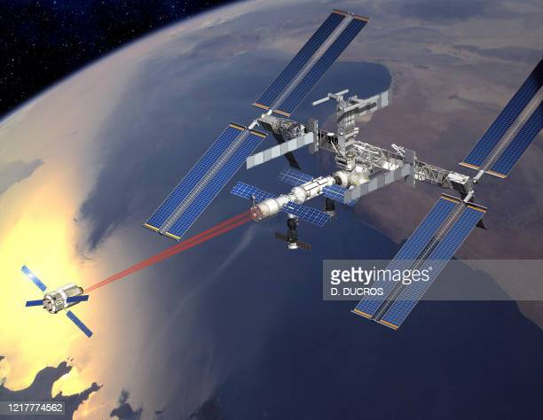 An artist's impression released by European Space Agency shows the Automated Transfer Vehicle during docking with the International Space Station The...