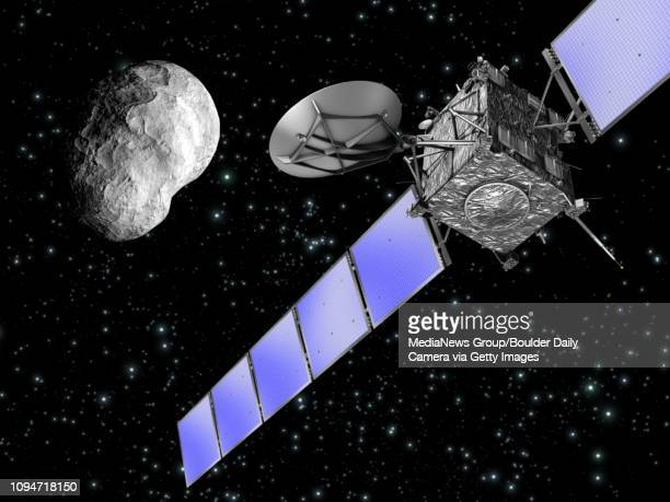An artist's rendering of Rosetta's flyby of an asteroid Courtesy of European Space Agency