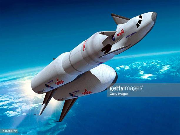 An Artist's Rendering Of The Joint Orbital Sciences And Northrop Grumman 'Space Taxi' Concept Is Depicted Riding Aboard A Heavy Evolved Expendable...