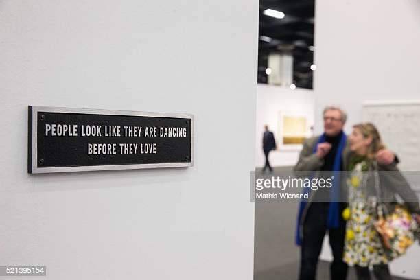 An artwork by Jenny Holzer is seen during the ART Cologne at Koelnmesse on April 15 2016 in Cologne Germany