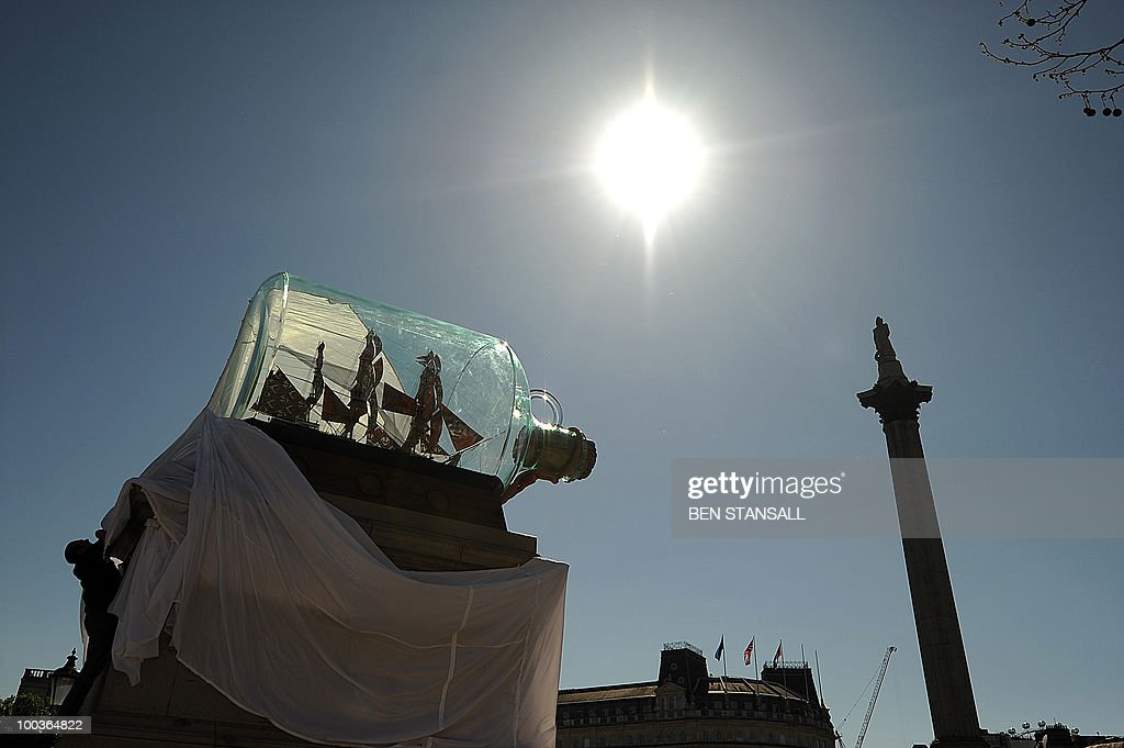 An artwork entitled 'Nelson's Ship in a Bottle' by Anglo-Nigerian contemporary artist Yinka Shonibare is unveiled on the fourth plinth in Trafalgar Square in London, on May 24, 2010. The artwork featues a large scale model of the ship HMS Victory, from which Horatio Nelson commanded the Battle of Trafalgar in 1805.